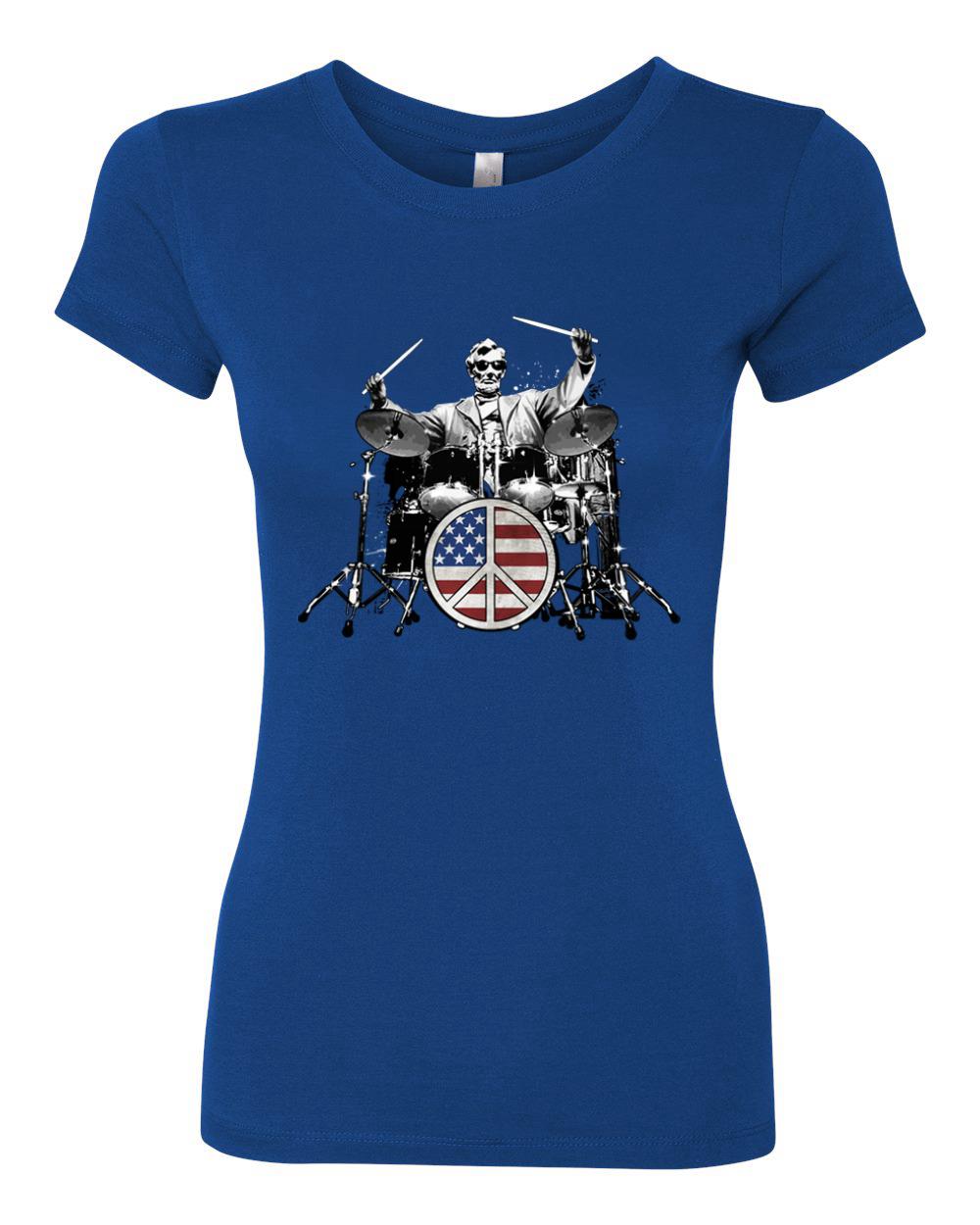 Abraham Lincoln Rock Drummer Womens Junior Fit Tee American Music T-Shirt