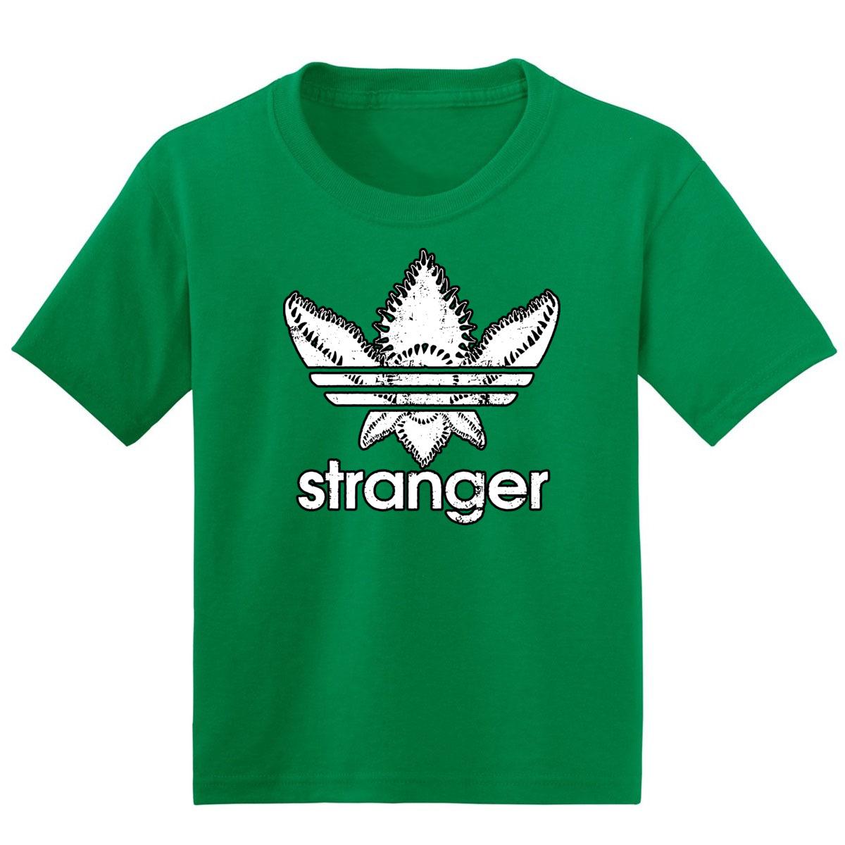 Stranger Boys Humor T Shirt Graphic Three Stripes Logo Parody Stranger Fan Tee