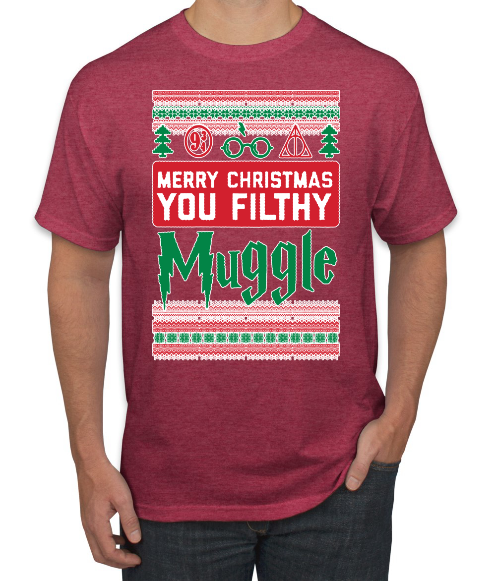Merry Christmas You Filthy Muggle Funny Ugly Christmas T Shirt Potter Fan Tee