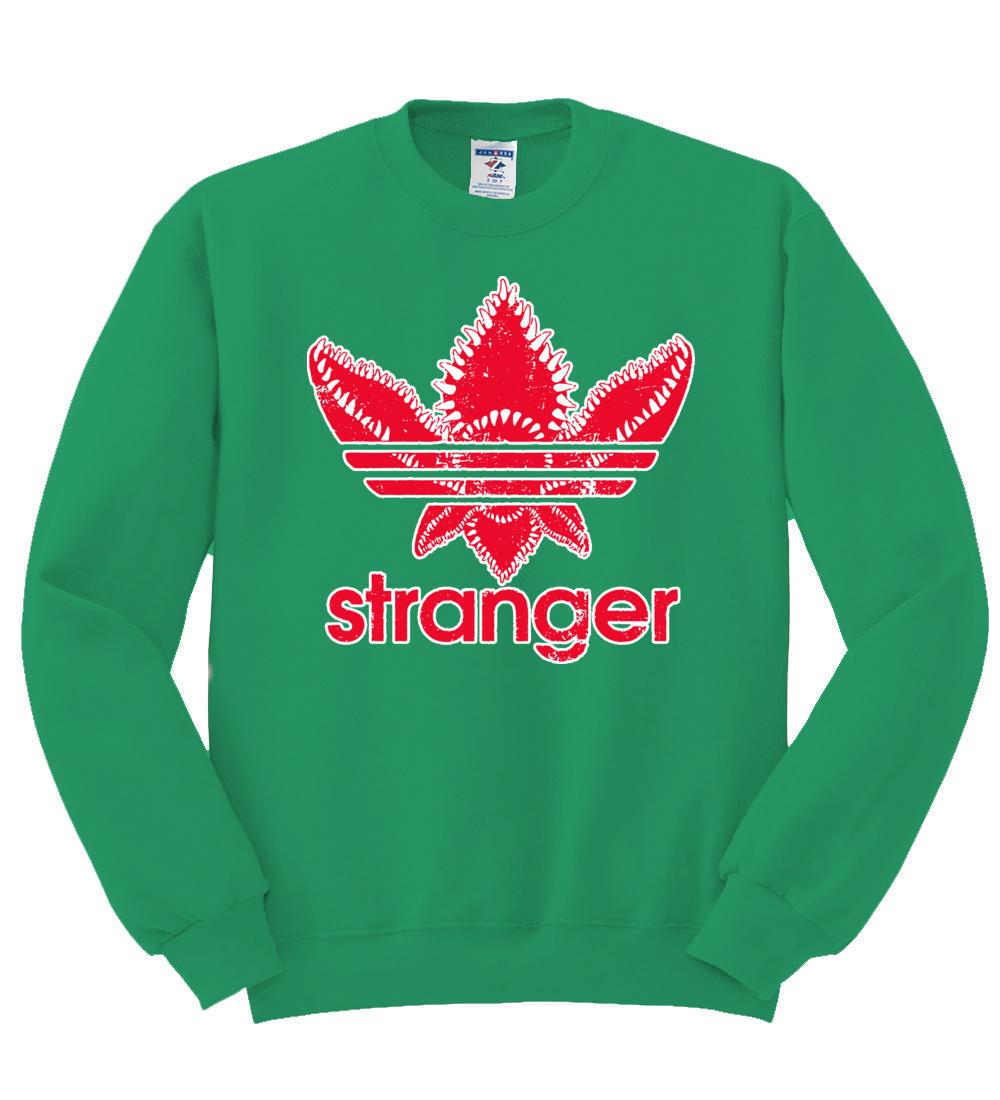 Demogorgon Stranger Fan Three Stripes Mens Sweatshirt Logo Parody Sweater