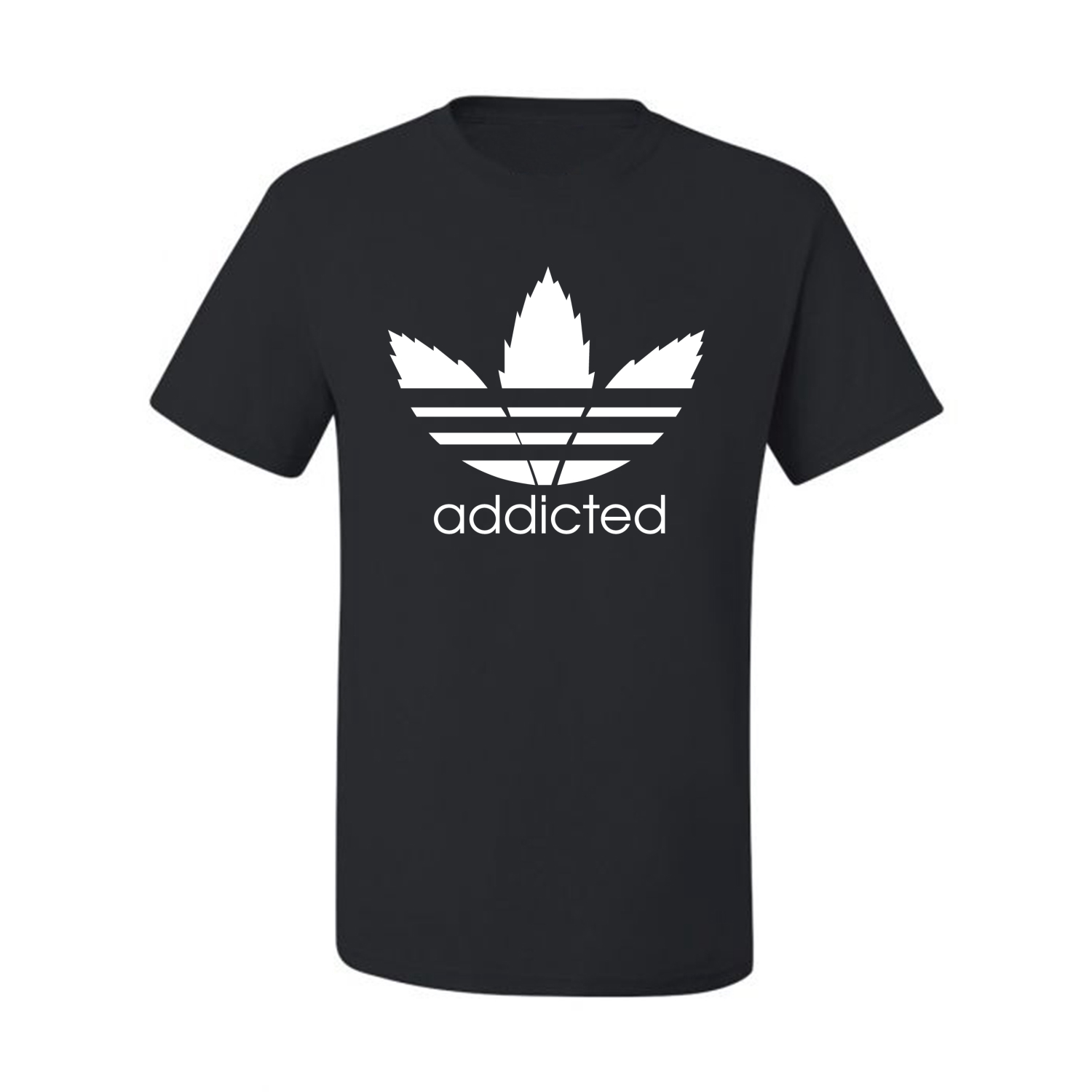 Addicted-White-Pot-Leaf-Mens-Weed-T-Shirt-Graphic-Parody-Tee thumbnail 4
