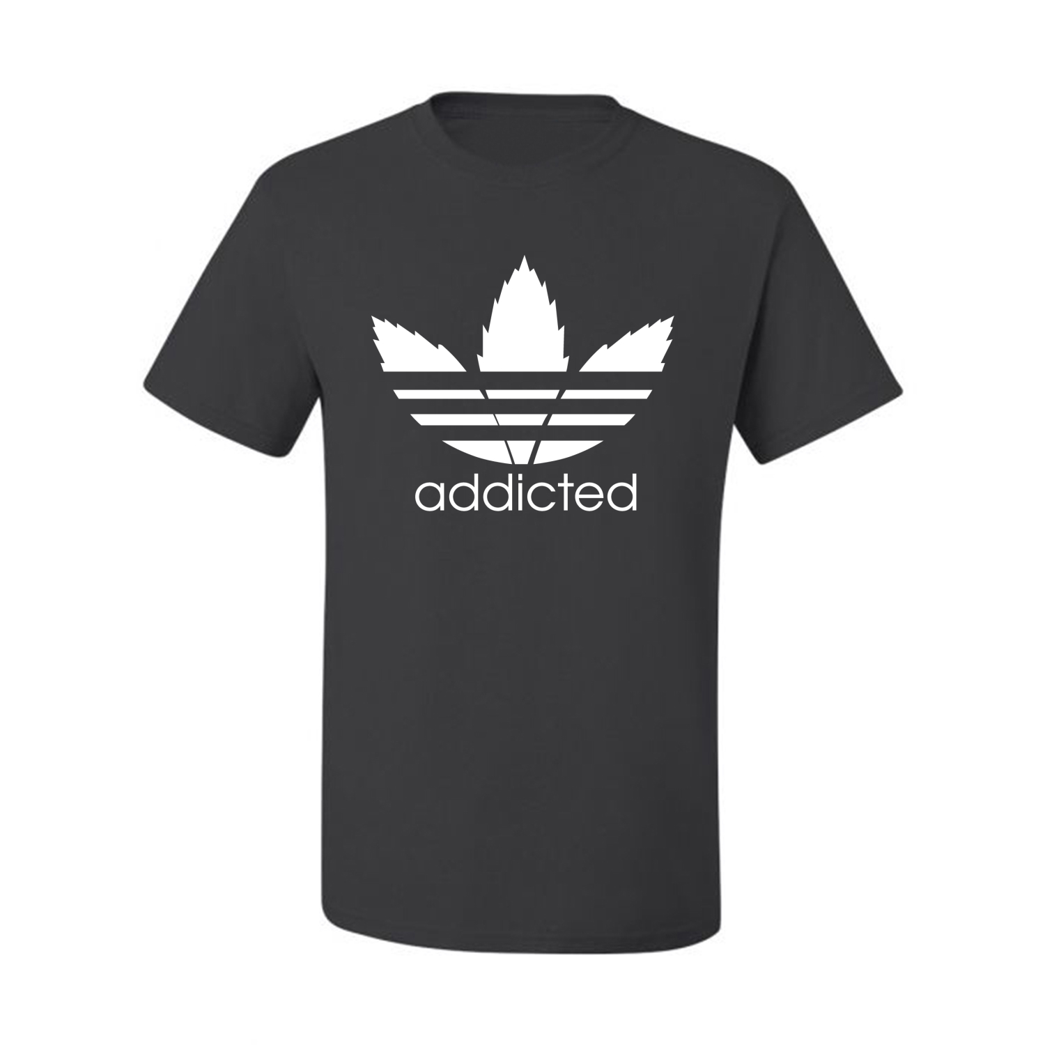 Addicted-White-Pot-Leaf-Mens-Weed-T-Shirt-Graphic-Parody-Tee thumbnail 6