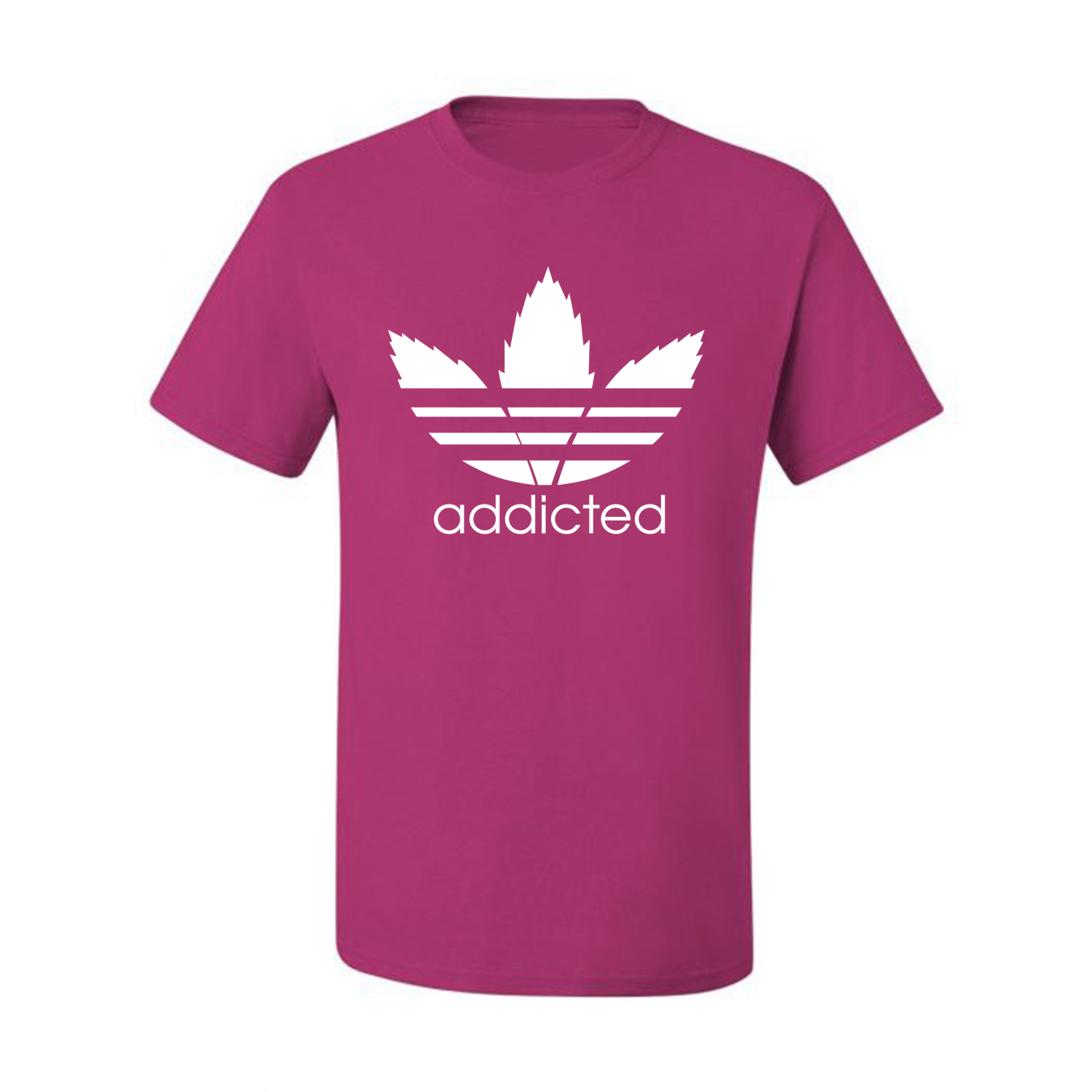 Addicted-White-Pot-Leaf-Mens-Weed-T-Shirt-Graphic-Parody-Tee thumbnail 8