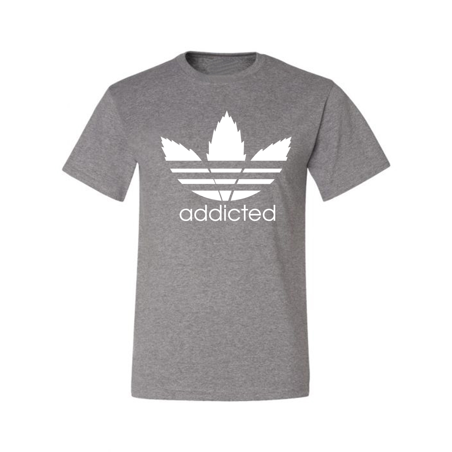 Addicted-White-Pot-Leaf-Mens-Weed-T-Shirt-Graphic-Parody-Tee thumbnail 12