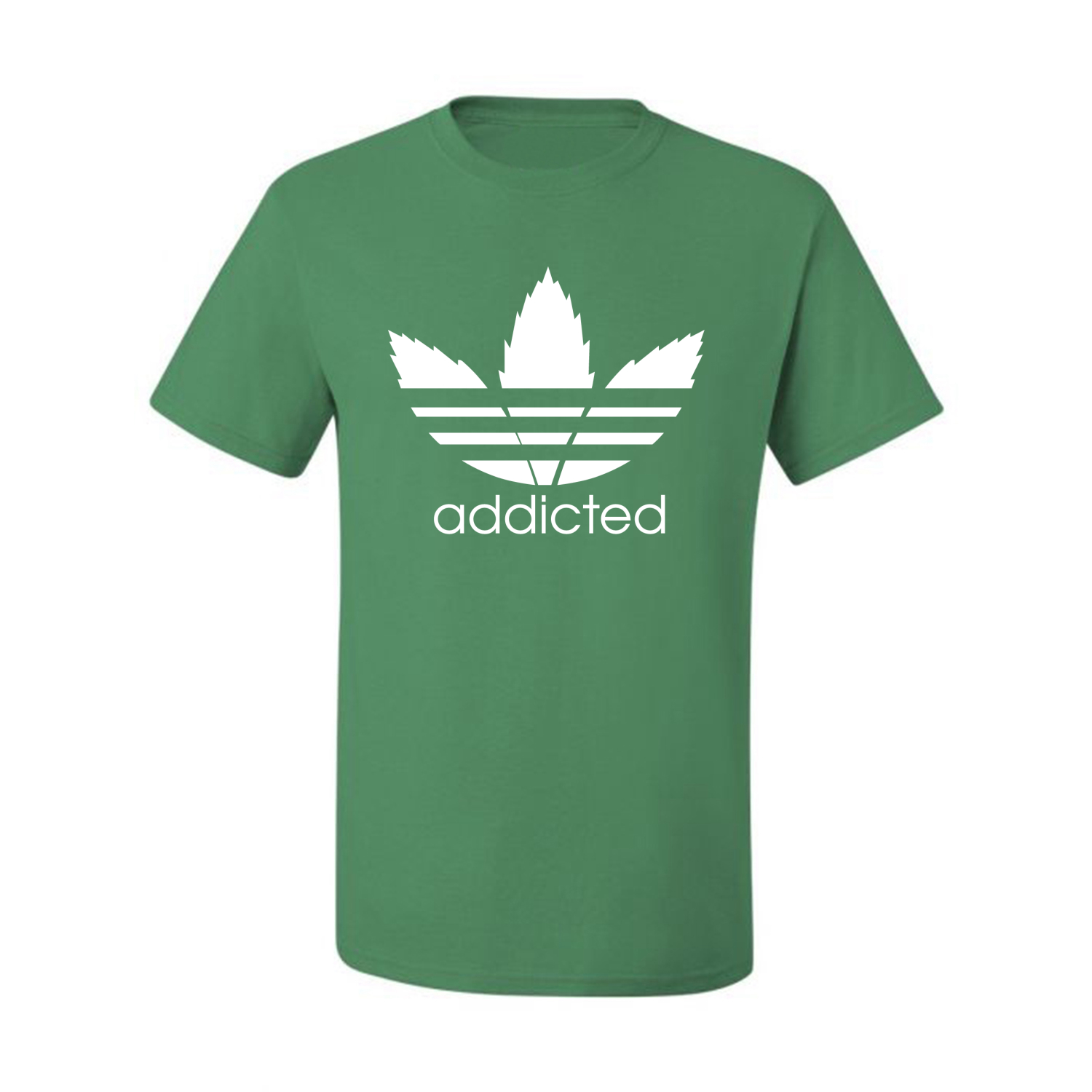 Addicted-White-Pot-Leaf-Mens-Weed-T-Shirt-Graphic-Parody-Tee thumbnail 14