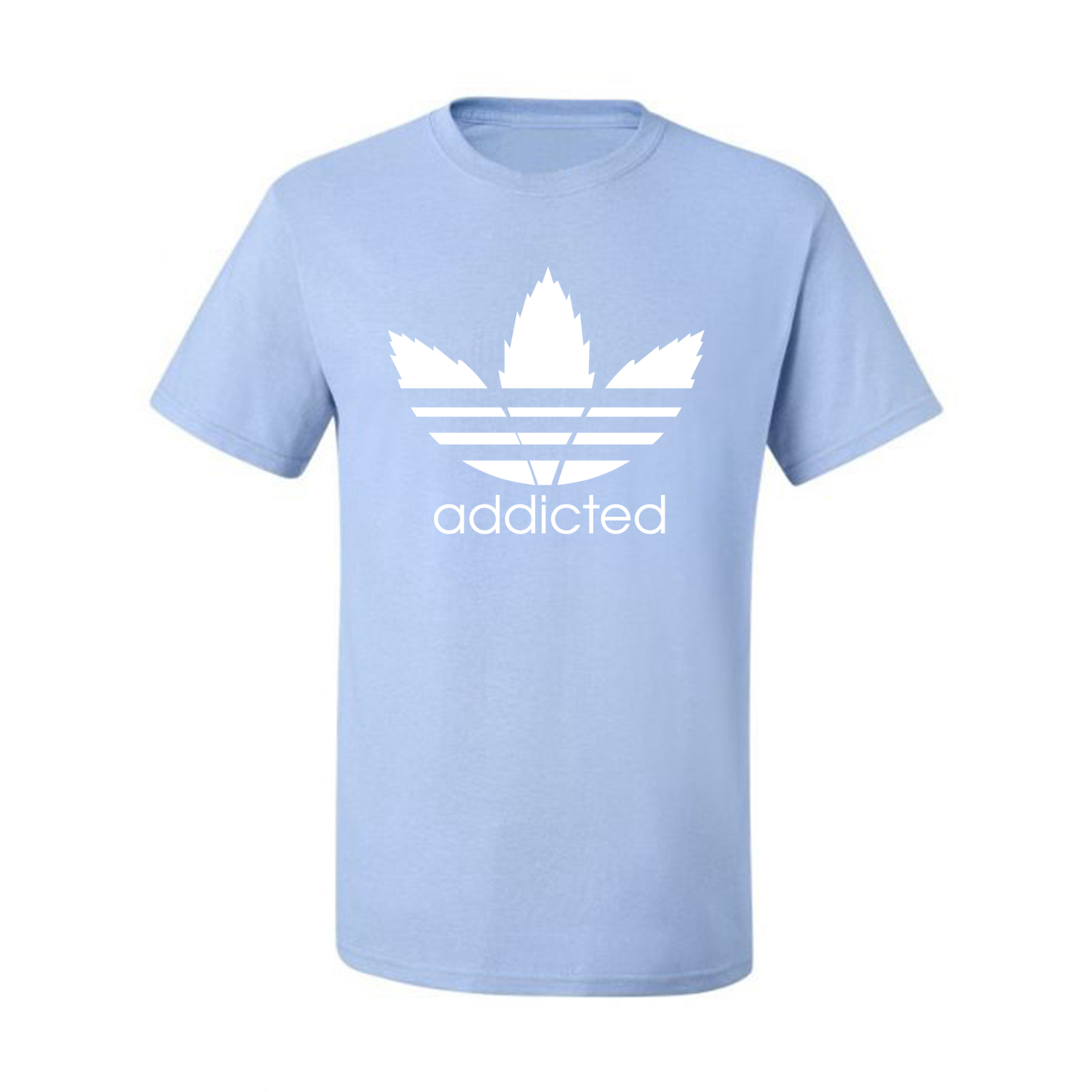 Addicted-White-Pot-Leaf-Mens-Weed-T-Shirt-Graphic-Parody-Tee thumbnail 16