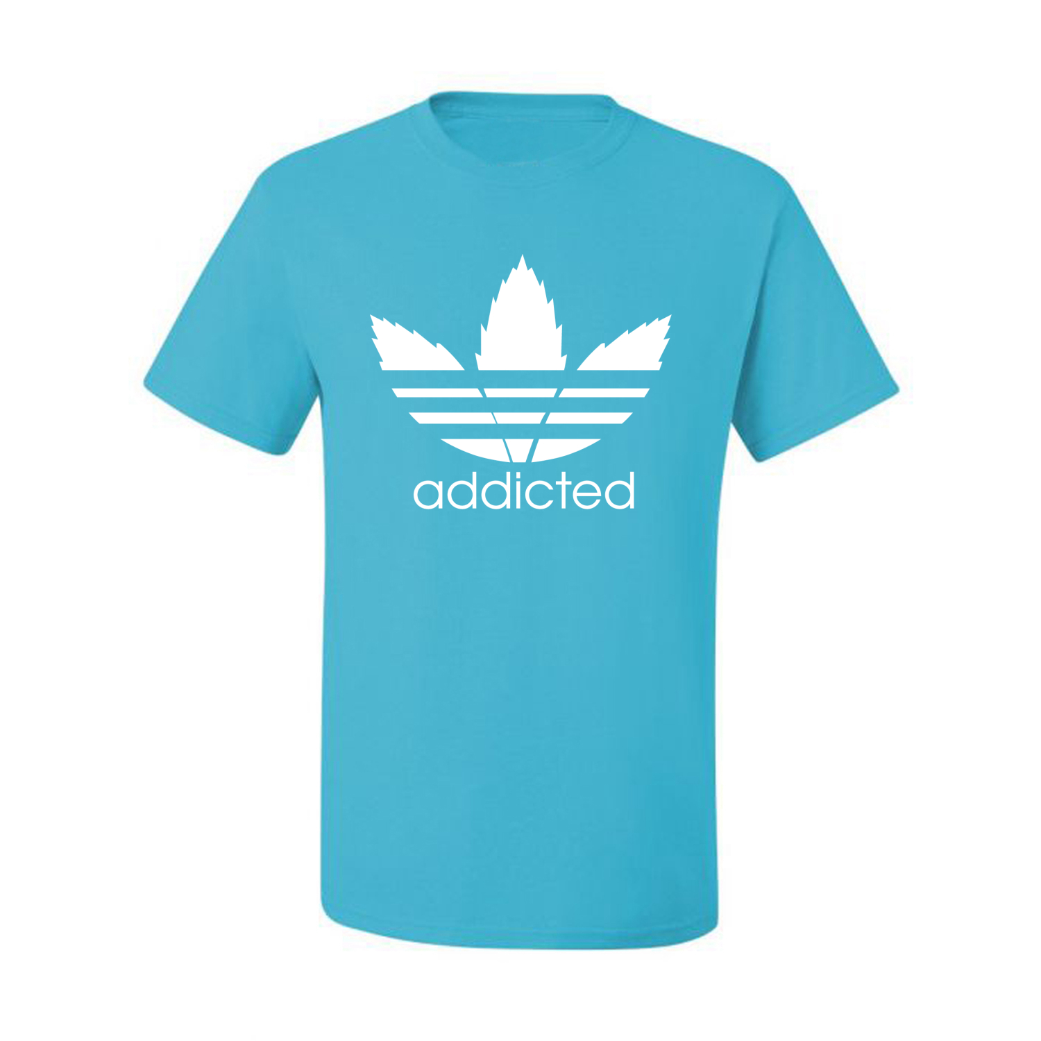 Addicted-White-Pot-Leaf-Mens-Weed-T-Shirt-Graphic-Parody-Tee thumbnail 20