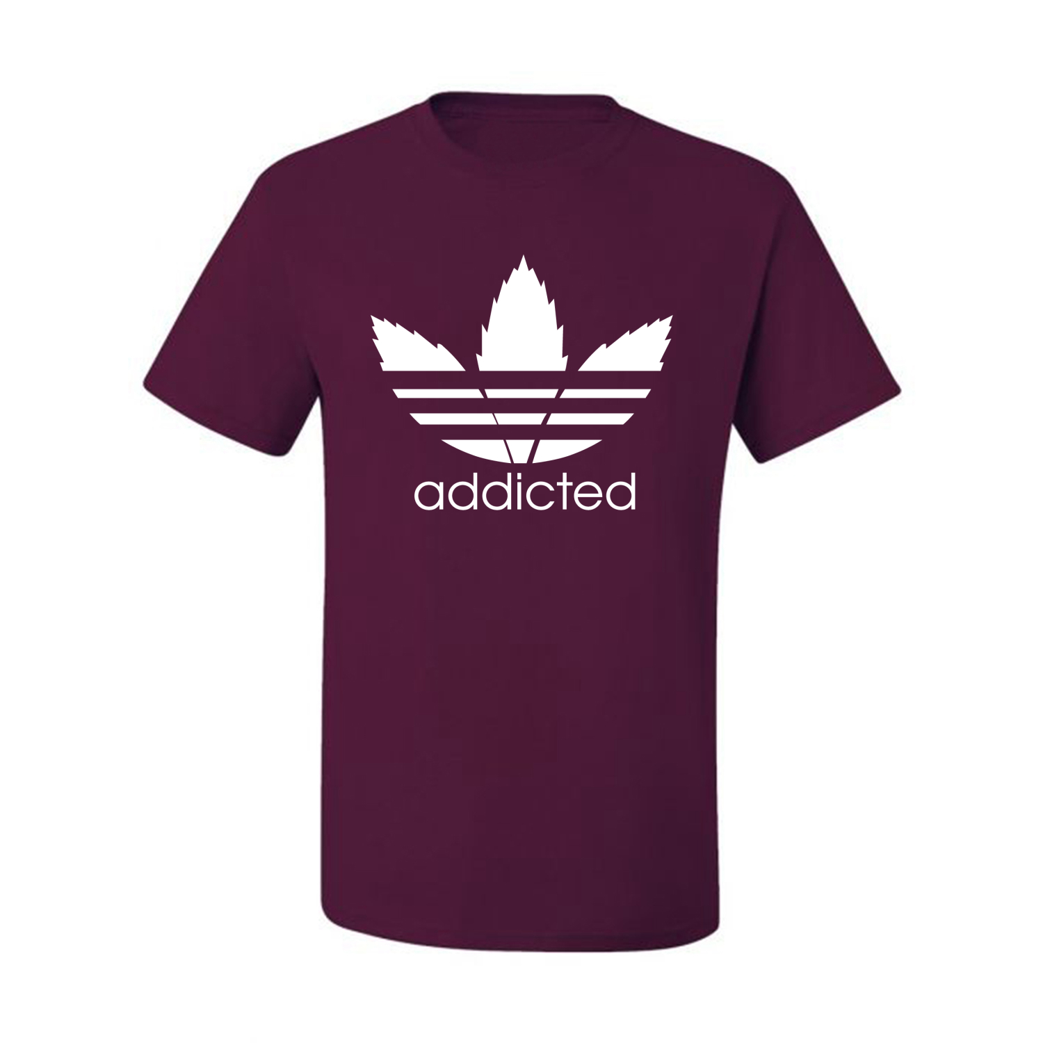 Addicted-White-Pot-Leaf-Mens-Weed-T-Shirt-Graphic-Parody-Tee thumbnail 22