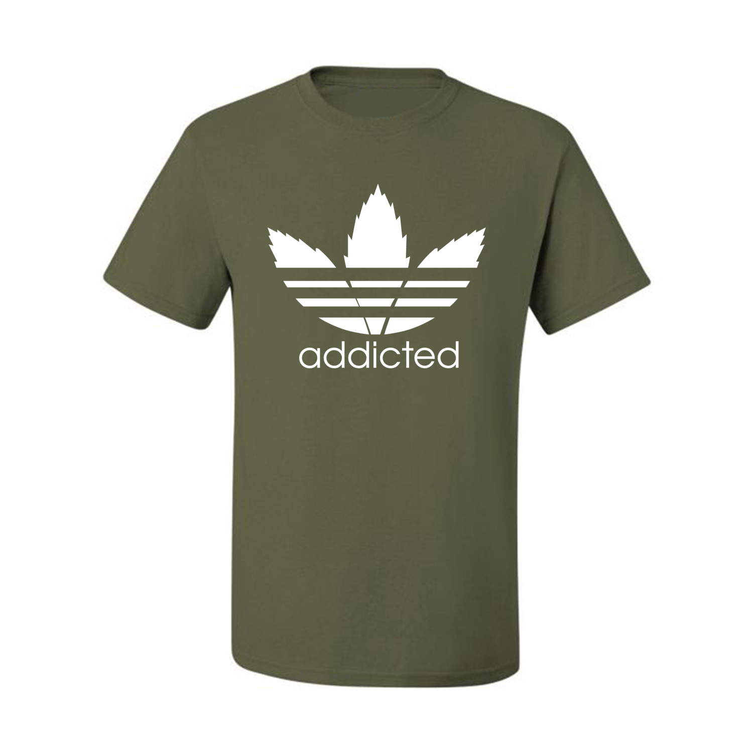 Addicted-White-Pot-Leaf-Mens-Weed-T-Shirt-Graphic-Parody-Tee thumbnail 24
