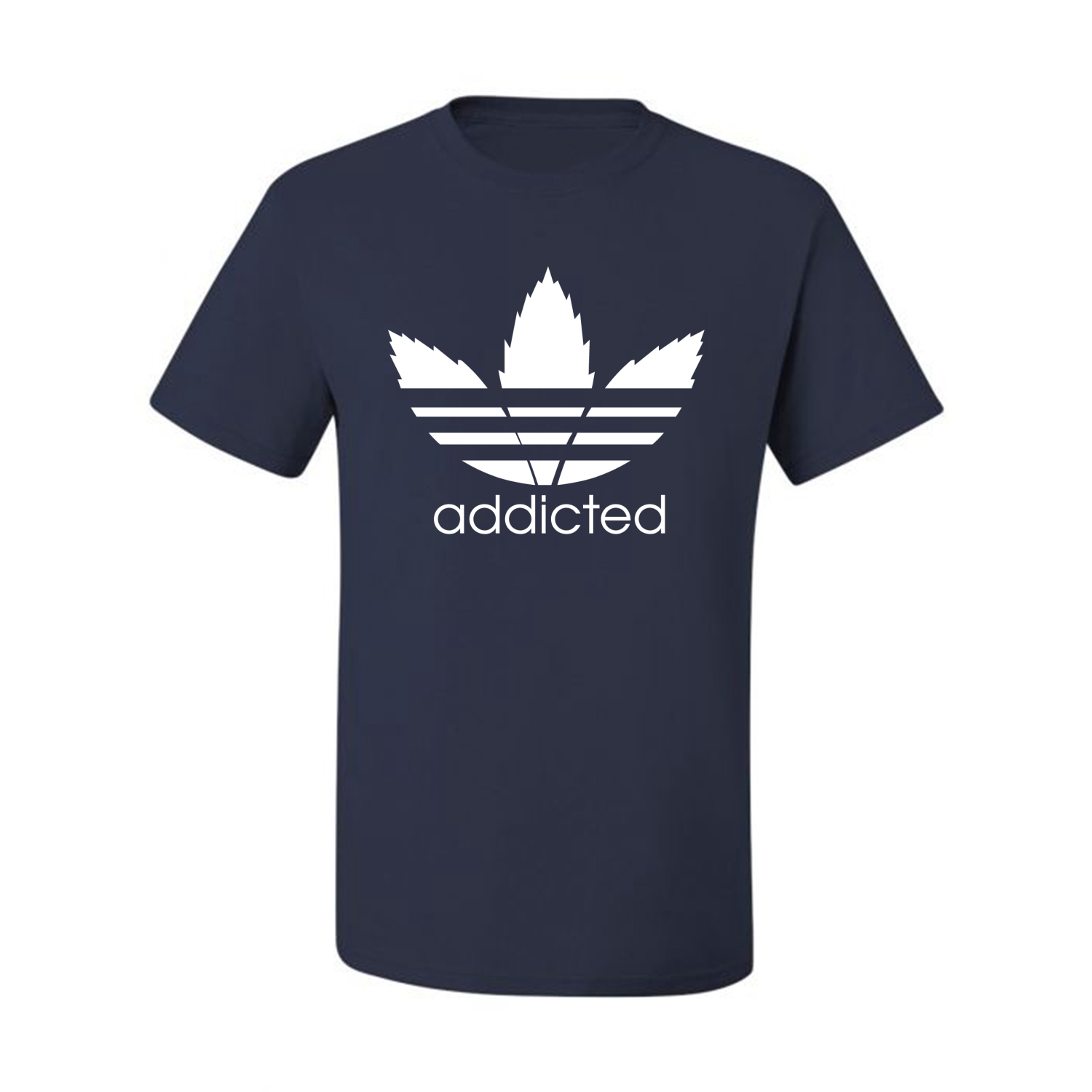 Addicted-White-Pot-Leaf-Mens-Weed-T-Shirt-Graphic-Parody-Tee thumbnail 28