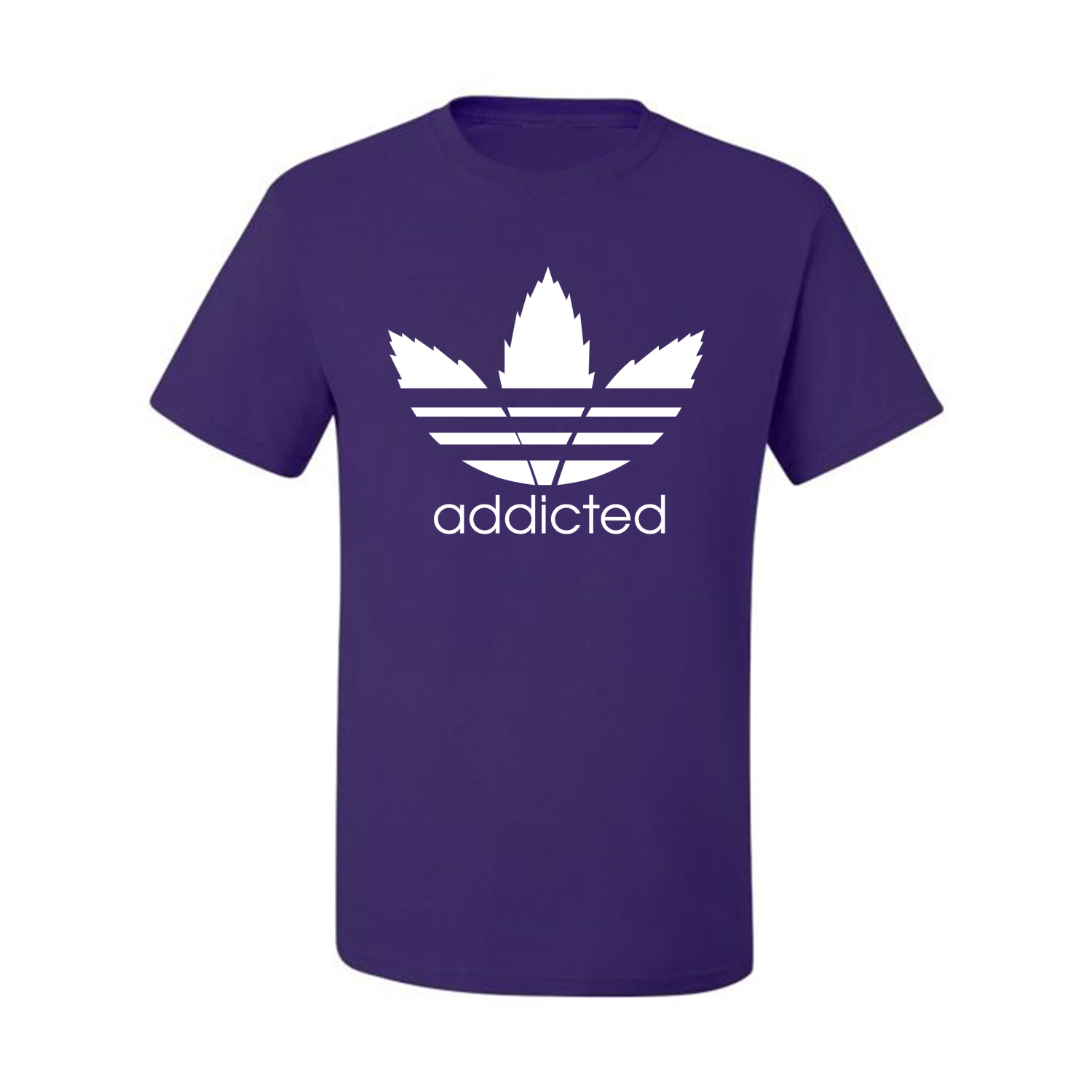 Addicted-White-Pot-Leaf-Mens-Weed-T-Shirt-Graphic-Parody-Tee thumbnail 32