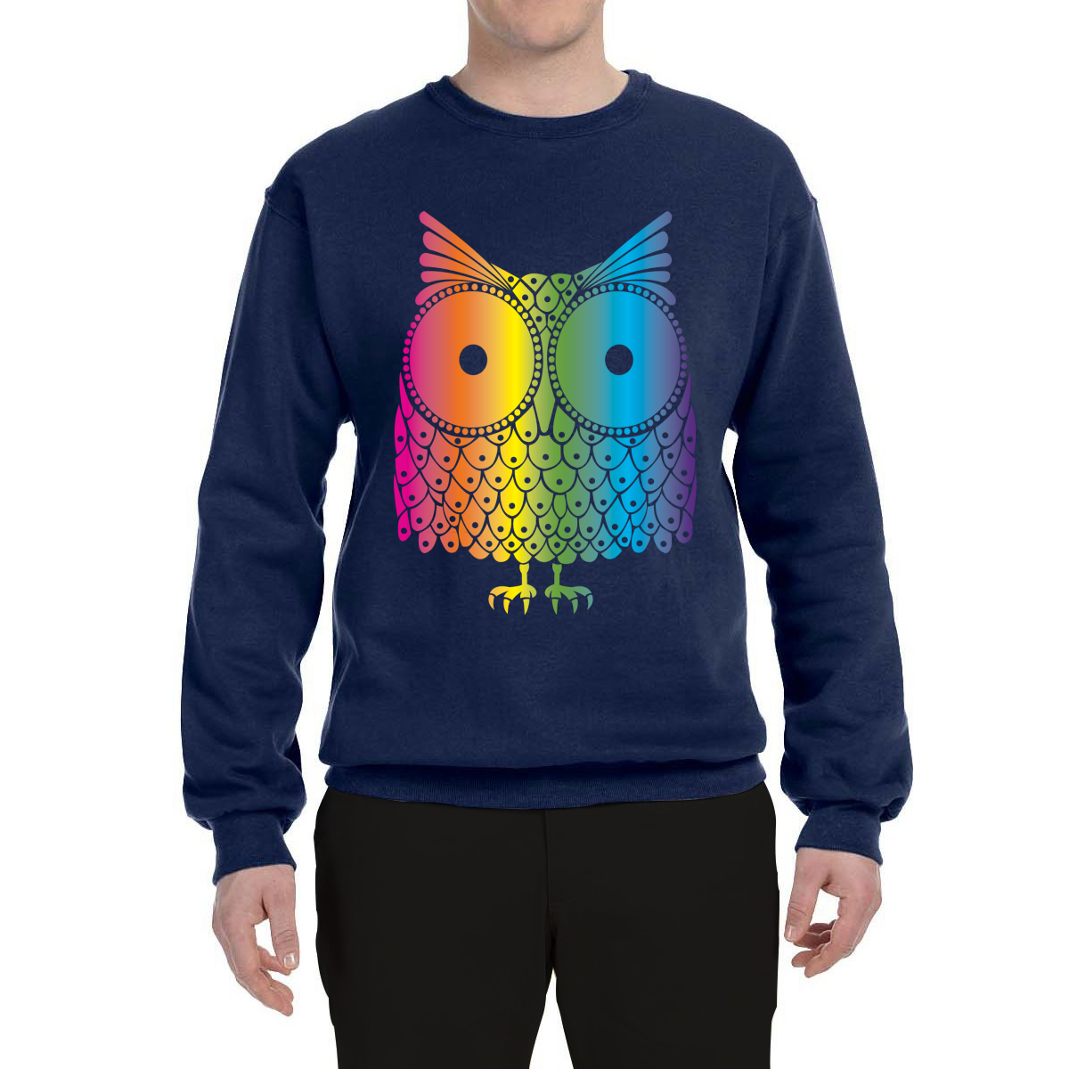 3a2d81db9ccc Colorful-Owl-Mens-Animal-Crewneck-Sweatshirt-Animals-Sweater thumbnail